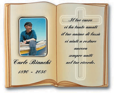 CERAMIC BIBLE BOOK MEMORIAL PLAQUE