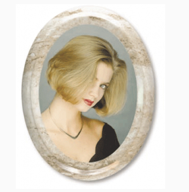 CERAMIC OVAL PHOTO WITH GOLD RIM