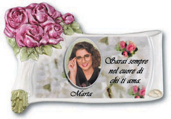 SCROLL CERAMIC MEMORIAL PHOTO PLAQUES TO GALLERY